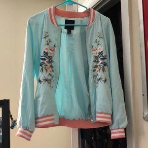 Forever 21 Aqua Jacket w/ Embroider